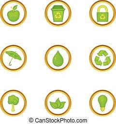 Eco icons set, cartoon style