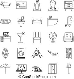Public house icons set, outline style - Public house icons...