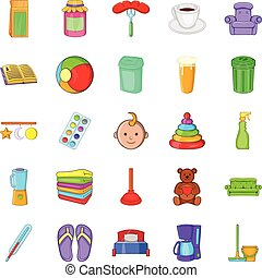 Home economics icons set, cartoon style - Home economics...