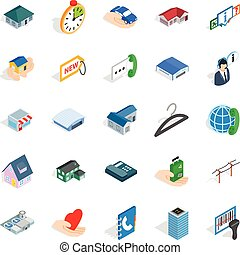 Homelike icons set, isometric style - Homelike icons set....