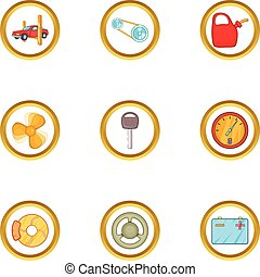 Car accessories icons set, cartoon style