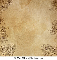 Neutral base effect canvas for artistic bases with flowers