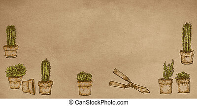 Realistic designs to the stretch of plants Garden flowers, plants, gardening tools With flowering cactus plants,