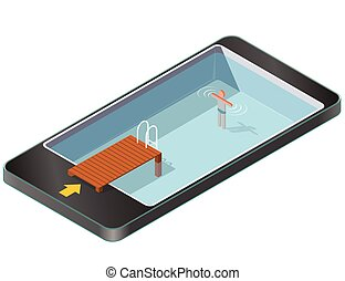 Isometric swimming pool with wooden pier in mobile phone....