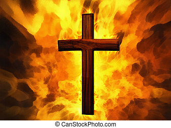 Flaming Cross Christian Art Can be canvas or paper printed