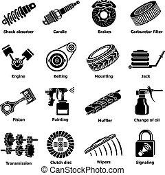 Car repair parts icons set, simple style - Car repair parts...