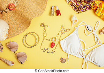 diverse travel girlish stuff on colorful background blue and...