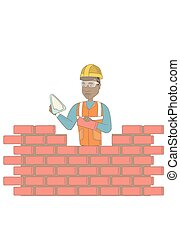 Young bricklayer working with spatula and brick. -...