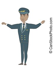 Young african pilot with arms outstretched. - Young african...