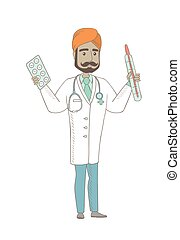 Otolaryngologist holding thermometer and pills. - Indian...