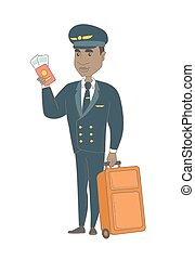 African steward showing passport and ticket. - Young african...