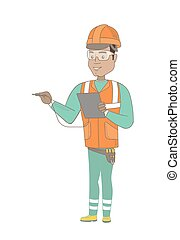 Hispanic electrician with electrical equipment. - Young...
