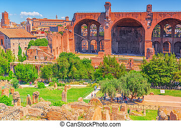 ROME, ITALY - MAY 08, 2017: Archaeological and historical...