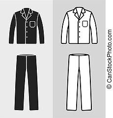 Pajamas - Vector illustration of pajamas, jacket and pants,...