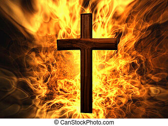 Flaming Cross Christian Art Can be canvas or paper printed....