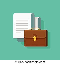 Big documents with briefcase vector illustration, flat...
