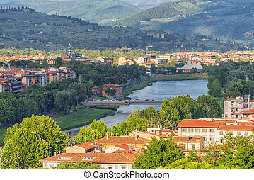 Beautiful landscape above, panorama on historical view of the Florence from  Piazzale Michelangelo point. Italy.