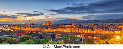 Beautiful landscape above, panorama on historical view of the Florence from  Piazzale Michelangelo point. Night time.Italy.
