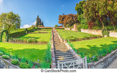 Beautiful landscape panorama on historical view Gardens of...