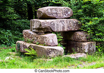 Stone pile from the Stone Age. Arrangement of stones similar...