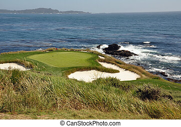 Pebble Beach green - the par 3 green at the Pebble Beach...