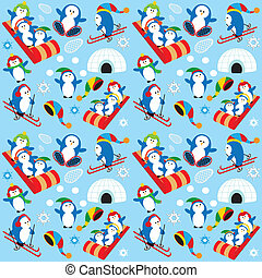 Penguin Wallpaper - Cute Playful Penguin Village Snow Scene