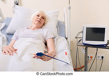 Aged sore woman improving her health - Following doctors...