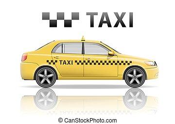 taxi, ciudad, Plano de fondo,  mockup, aislado, amarillo, realista,  vector, Ilustración, taxi, blanco
