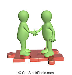 Handshake two 3d mans on attached parts of puzzles
