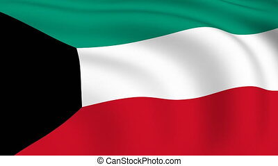 Flying Flag of KUWAIT | LOOPED |