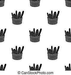 Basket of baguette icon in black style isolated on white background. France country symbol stock vector illustration.