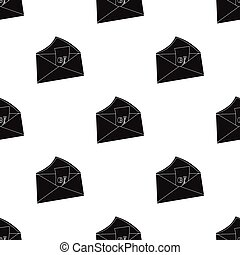 E-mail with virus icon in black style isolated on white...