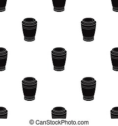 Funeral urns icon in black style isolated on white...