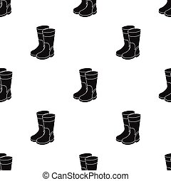 Rubber boots icon in black style isolated on white background. Fishing symbol stock vector illustration.