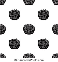 Cottage cheese in the bowl icon in black style isolated on...