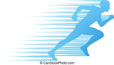 Silhouette Runner Sprinting or Running Concept