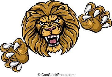 Lion Animal Sports Mascot - A lion angry animal sports...