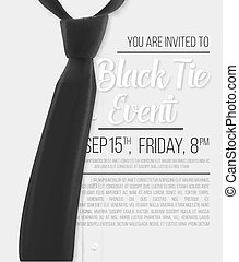 Realistic Vector White Shirt. Black Tie Event Invitation Template. Vector Mens Shirt with Black Tie