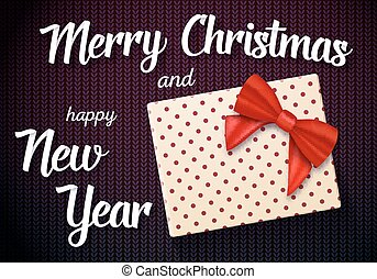 Vector Marry Christmas Greeting Card with 3D Realistic Gift...