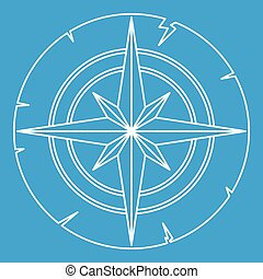 Ancient compass icon outline - Ancient compass icon blue...