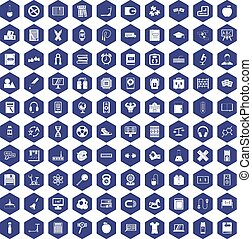 100 learning kids icons hexagon purple
