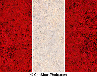 Flag of Peru on rusty metal