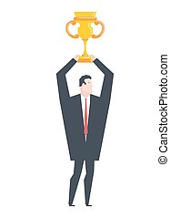 Business winner. businessman holds gold cup in his hands....