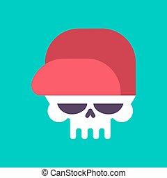 Skull in baseball cap isolated .Head of skeleton in hat