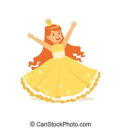 Beautifull redhead little girl princess in a gold ball dress and golden tiara, fairytale costume for party or holiday vector Illustration