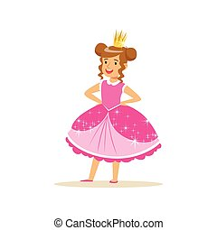 Beautifull little girl princess in a dark pink ball dress and golden tiara, fairytale costume for party or holiday vector Illustration