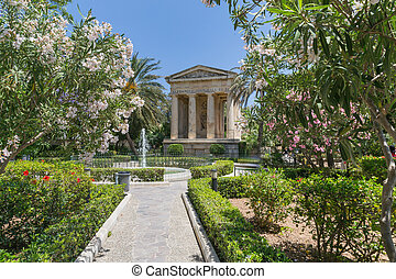 City park in the old town of Valetta - The old City park in...