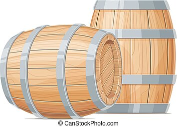 Two Wooden barrel for wine or beer