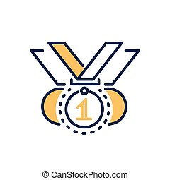 Competition award - modern vector line design icon. -...