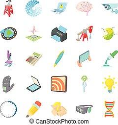 Pioneer work icons set, cartoon style - Pioneer work icons...